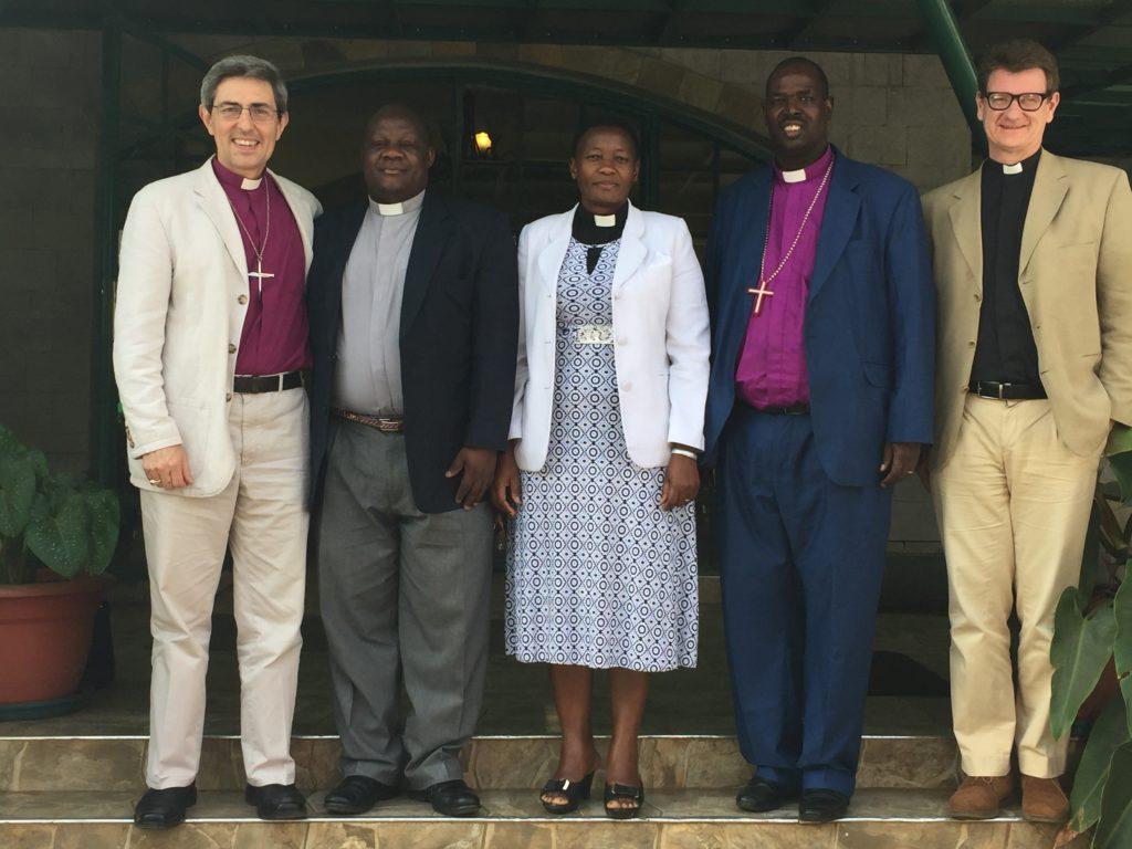 Bishop Tim with Richard Mayabi of Church Army Kenya, Patience Wanzala, Archbishop Jackson Ole Spit, and Canon Principal Mark Collinson
