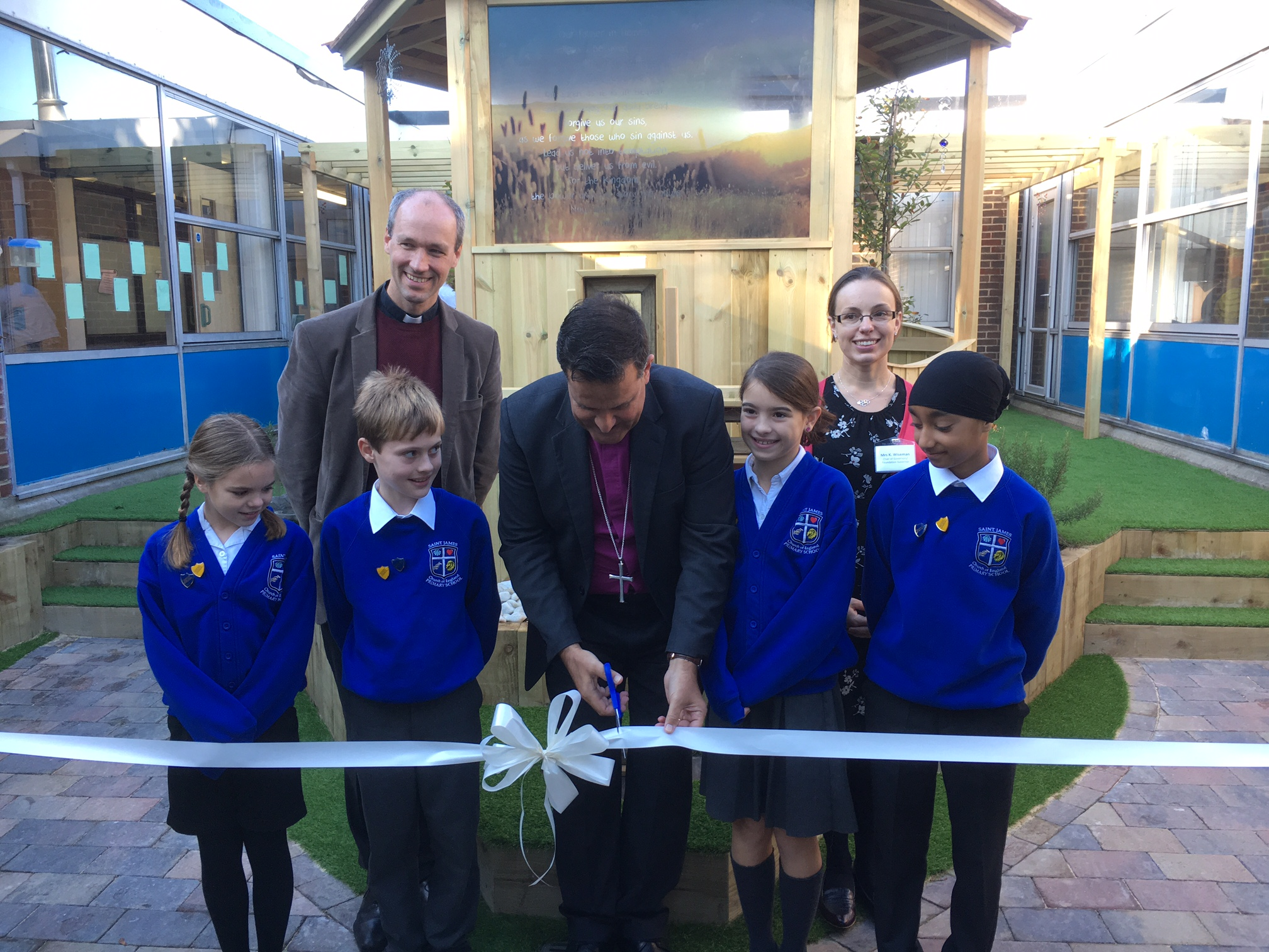 Attached photo of Bishop Jonathan opening the spiritual garden alongside Chair of Governors Karen Wiseman and Rev Thomas Wharton and pupils, from left to right, Katie, Teo, Abigail, and Camron.