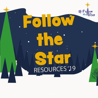Cartoon scene of a snowy evening. Orange cartoon text reading Follow The Star and beige finer text reading Resources '19