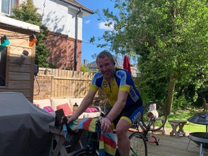 Bournemouth vicar completes indoor cycling challenge for Christian Aid Week