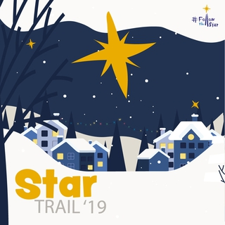 Cartoon image of a large yellow-orange star shining between a village outline on a snowy evening.