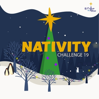 Cartoon image of a village on a snowy evening with orange wording Nativity Challenge 19